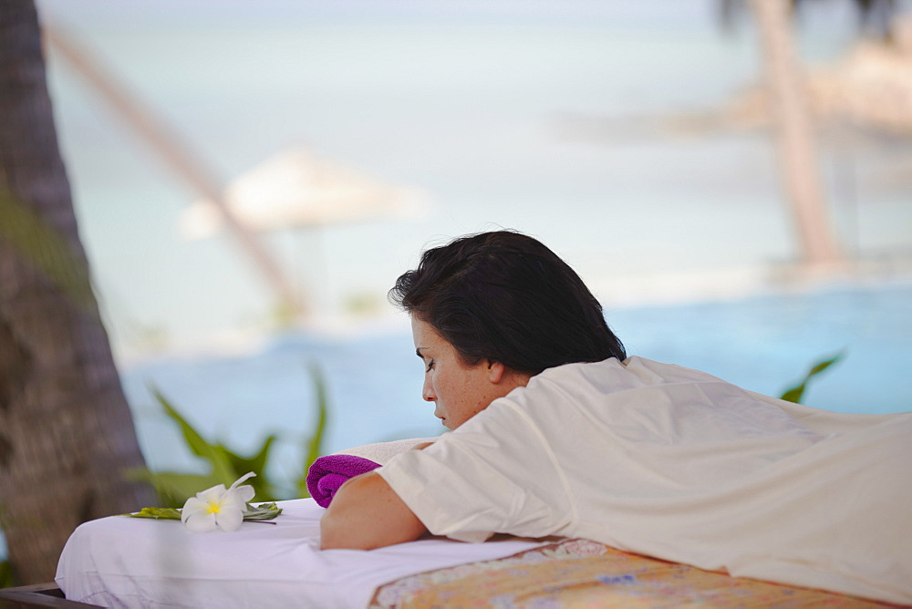 Woman relaxing on massage bed at Melati Beach Resort and Spa, Ko Samui, Thailand, Southeast Asia, Asia - 800-1790
