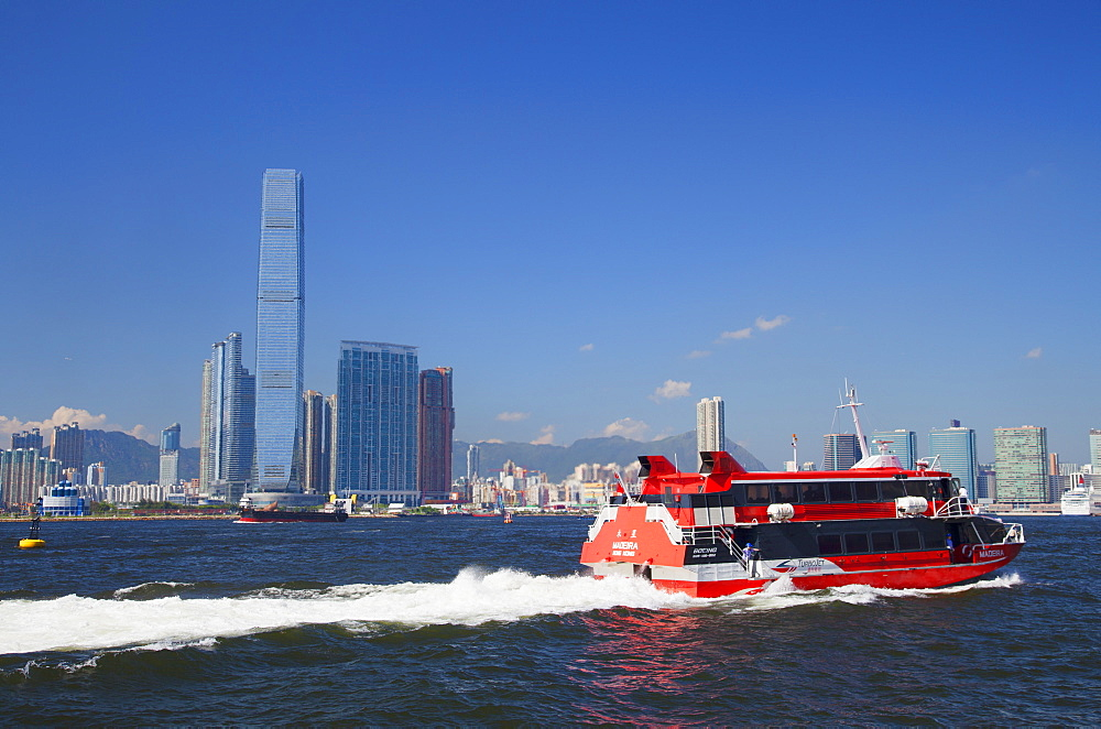 International Commerce Centre (ICC) and Macau ferry, West Kowloon, Hong Kong, China, Asia