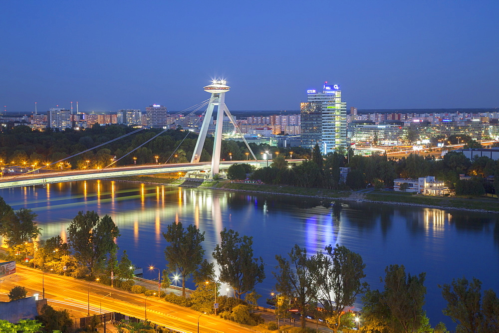 View of New Bridge over the River Danube at dusk, Bratislava, Slovakia, Europe