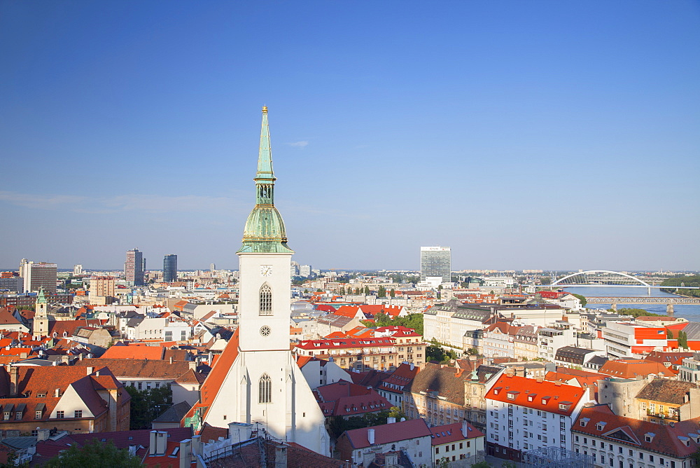 View of St. Martin's Cathedral and city skyline, Bratislava, Slovakia, Europe
