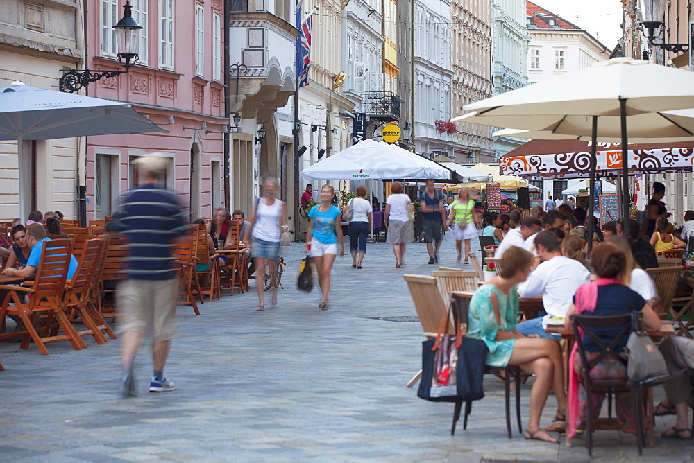 Outdoor cafes in Old Town, Bratislava, Slovakia, Europe