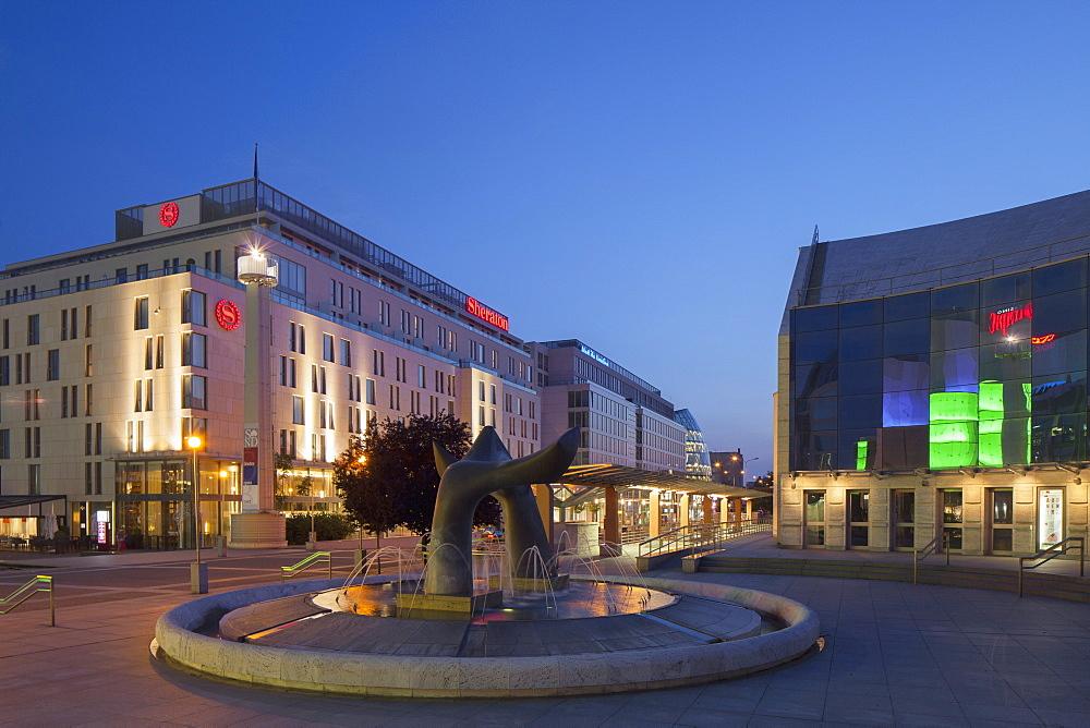 Slovak National Theatre and Sheraton Hotel at dusk, Bratislava, Slovakia, Europe