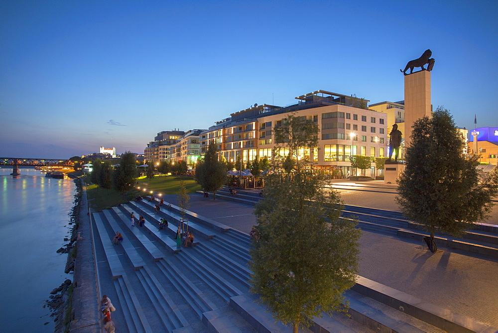 Eurovea complex at dusk, Bratislava, Slovakia, Europe