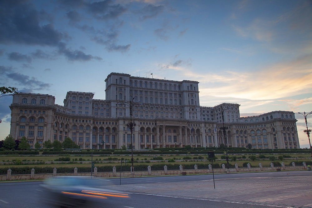 Palace of Parliament at dusk, Bucharest, Romania, Europe