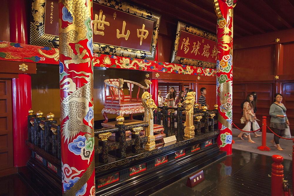 Throne room of Seiden at Shuri Castle, UNESCO World Heritage Site, Naha, Okinawa, Japan, Asia