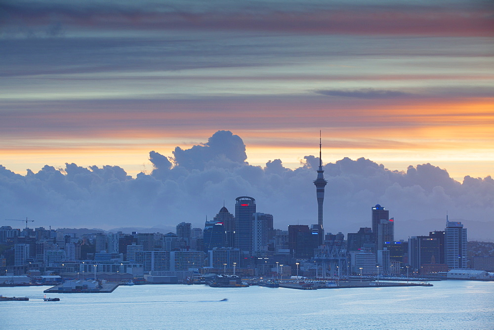 View of Auckland at sunset, Auckland, North Island, New Zealand, Pacific