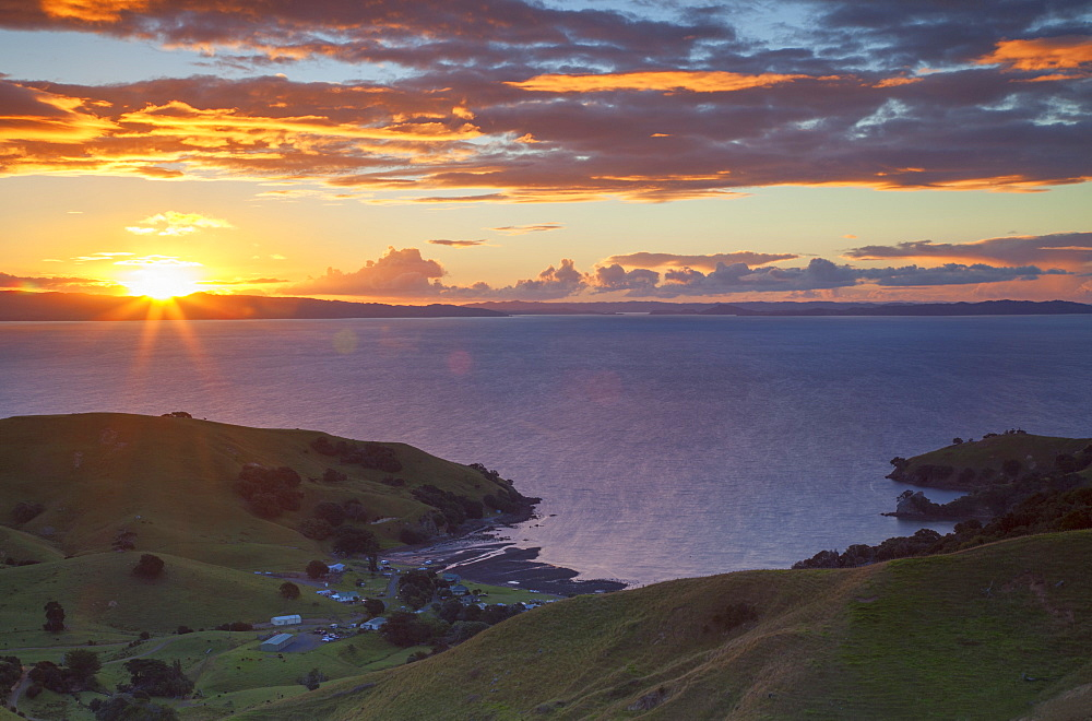 View of Kirita Bay and Firth of Thames at sunset, Coromandel Peninsula, Waikato, North Island, New Zealand, Pacific - 800-2033