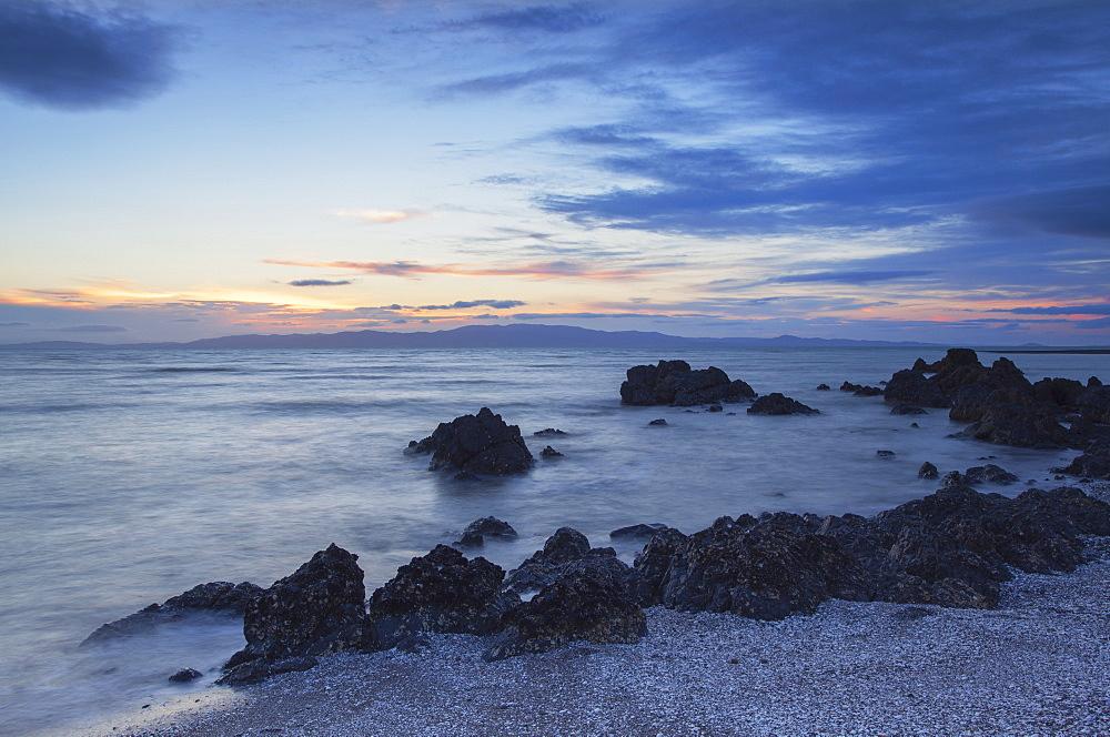 Te Mata beach at sunset, Coromandel Peninsula, Waikato, North Island, New Zealand, Pacific