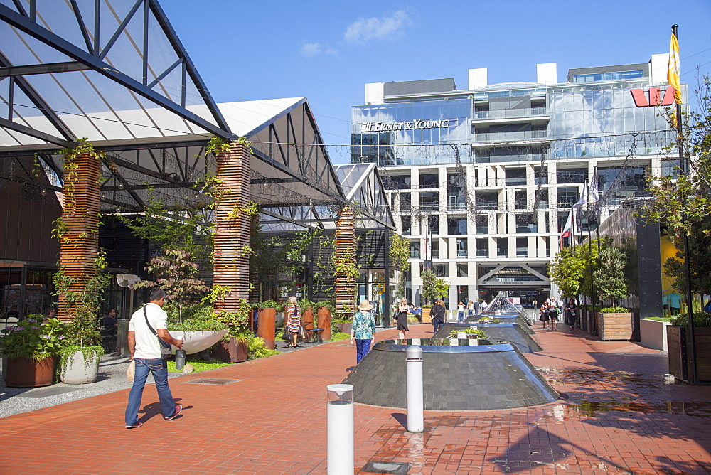Outdoor shopping mall in Britomart Precinct, Auckland, North Island, New Zealand, Pacific