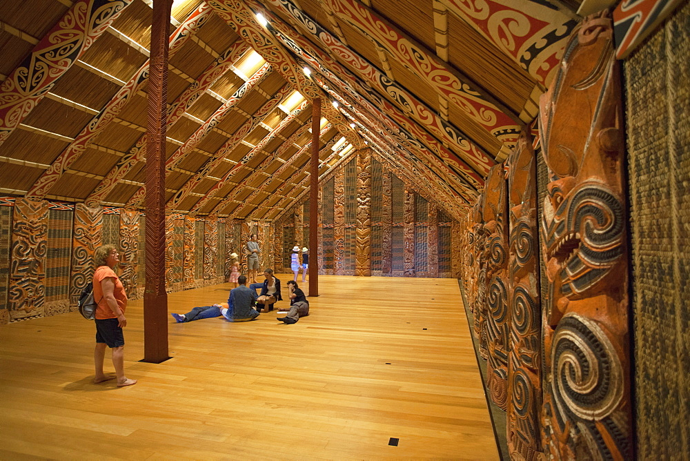 Interior of Maori ancestral home in Auckland Museum, Auckland, North Island, New Zealand, Pacific