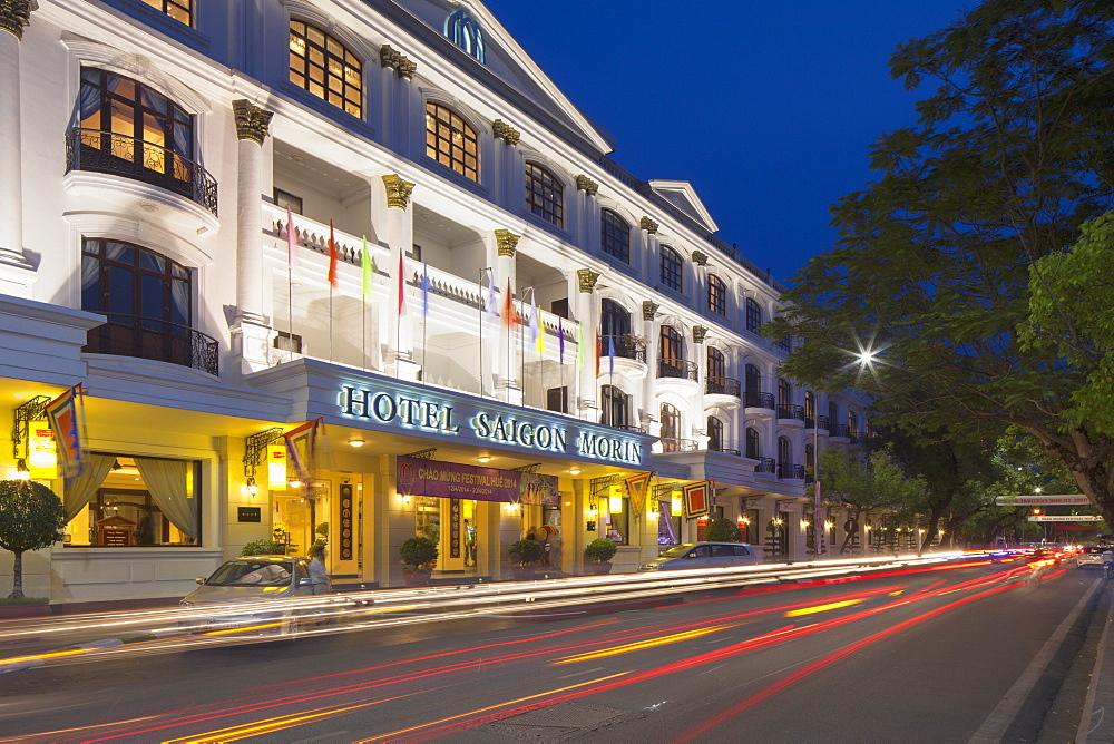 Hotel Saigon Morin at dusk, Hue, Thua Thien-Hue, Vietnam, Indochina, Southeast Asia, Asia