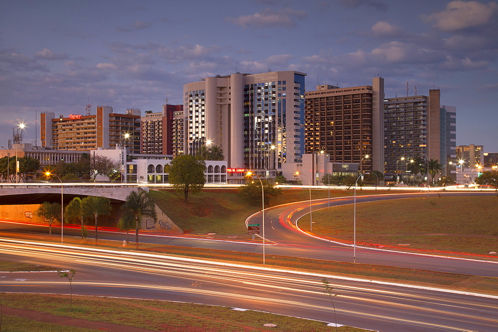 Hotel Sector, dusk, Brasilia, Federal District, Brazil, South America