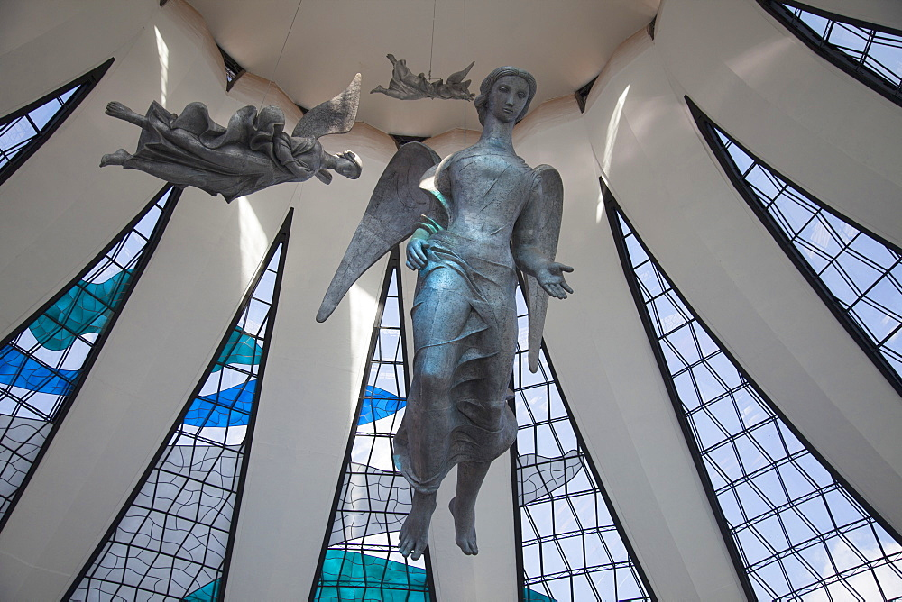 Angel sculptures, Alfredo Ceschiatti, Metropolitan Cathedral, UNESCO World Heritage Site, Brasilia, Federal District, Brazil, South America