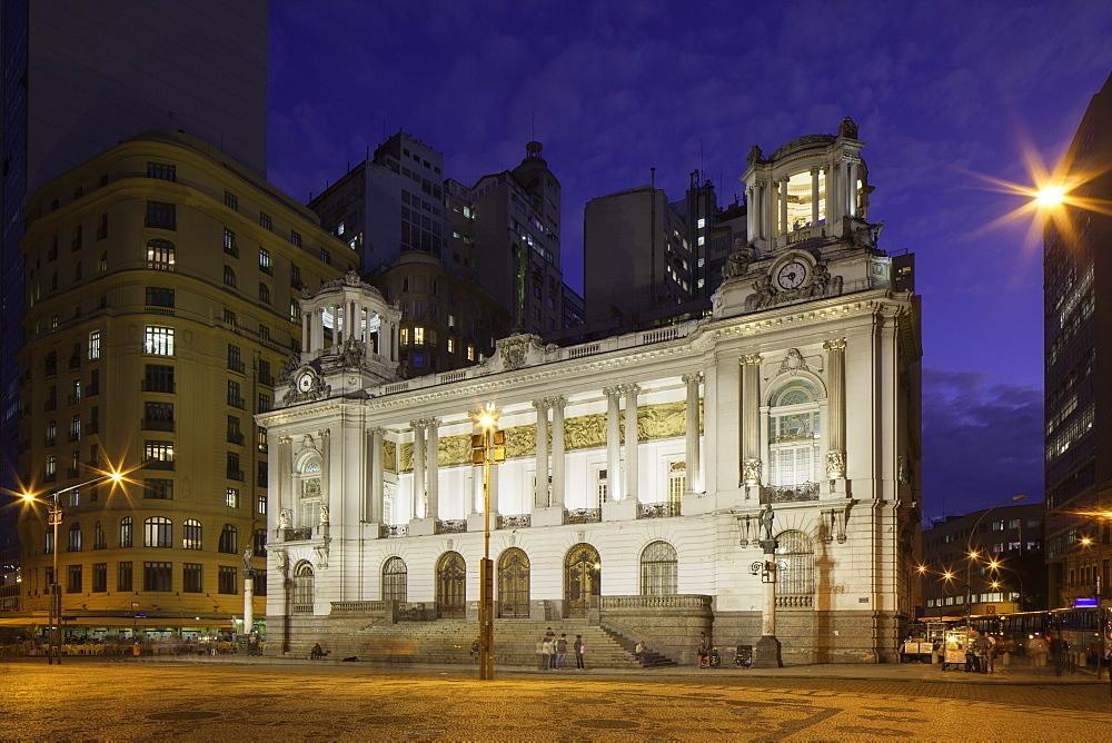 Town Hall (Camara Municipal), dusk, Cinelandia, Centro, Rio de Janeiro, Brazil, South America