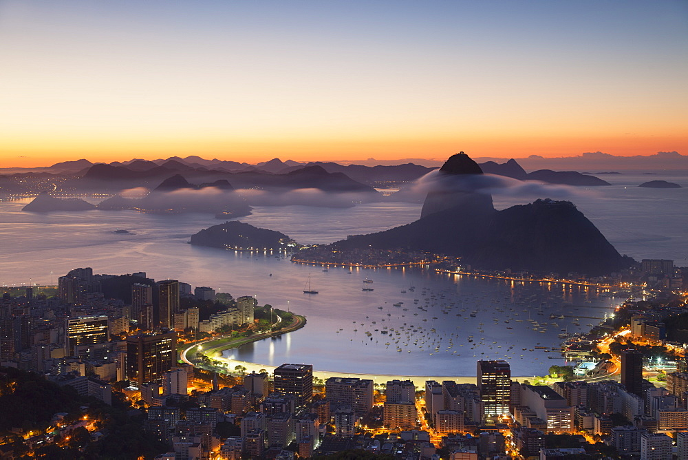 View of Sugarloaf Mountain and Botafogo Bay at dawn, Rio de Janeiro, Brazil, South America - 800-2245