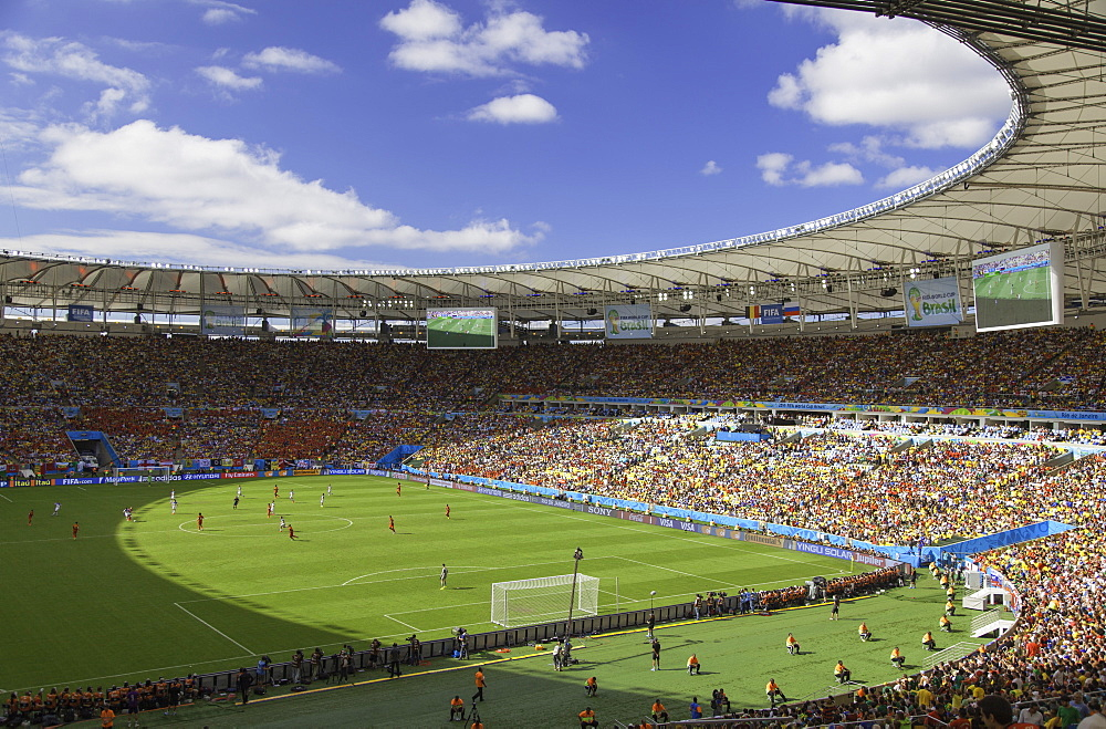 World Cup football match at Maracana stadium, Rio de Janeiro, Brazil, South America