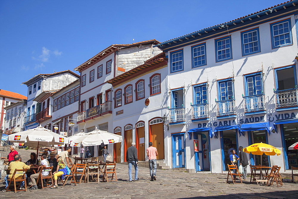 Outdoor cafes in square, Diamantina, UNESCO World Heritage Site, Minas Gerais, Brazil, South America