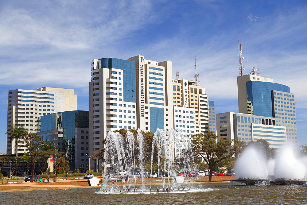 Fountain Square and buildings of Sector Sul, Brasilia, Federal District, Brazil, South America
