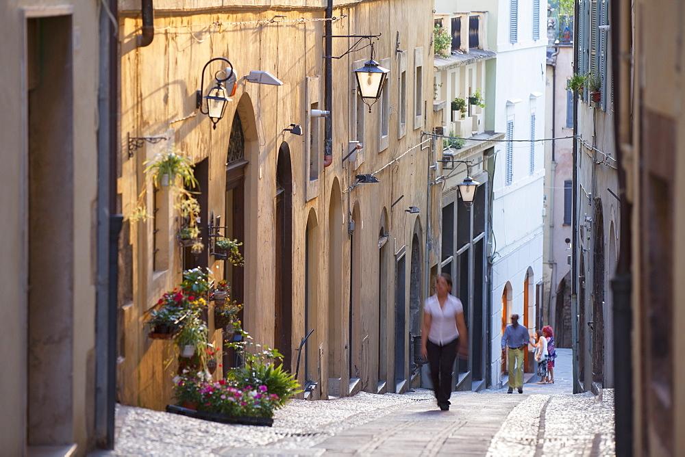 People walking along street, Spoleto, Umbria, Italy, Europe