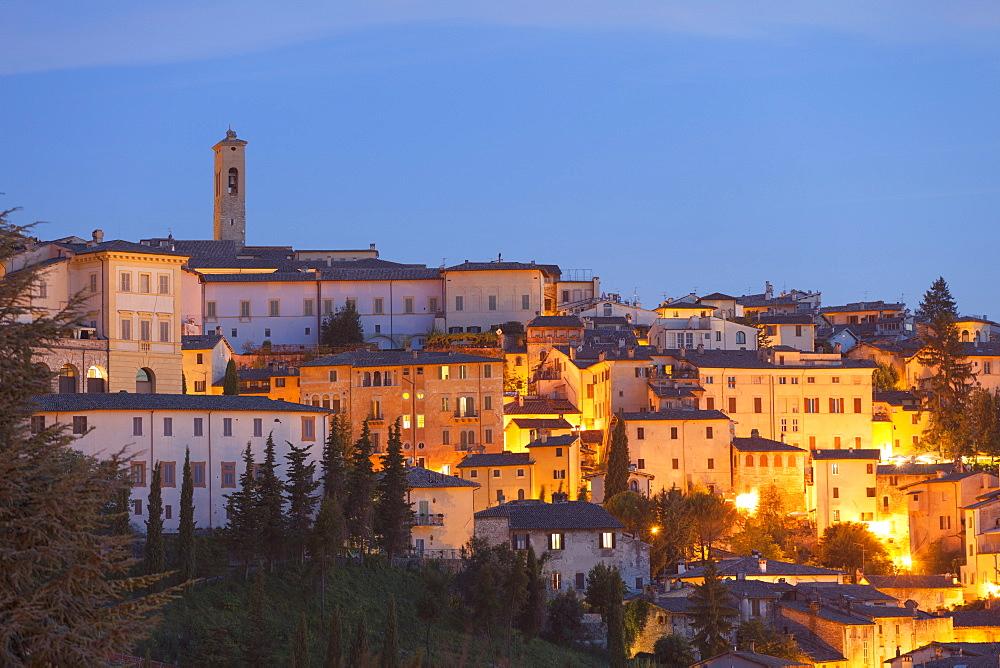 View of Spoleto at dusk, Umbria, Italy, Europe