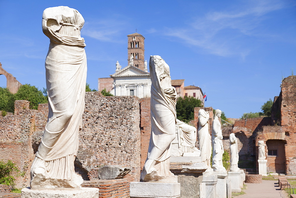 Statues at House of Vestals in Roman Forum, UNESCO World Heritage Site, Rome, Lazio, Italy, Europe