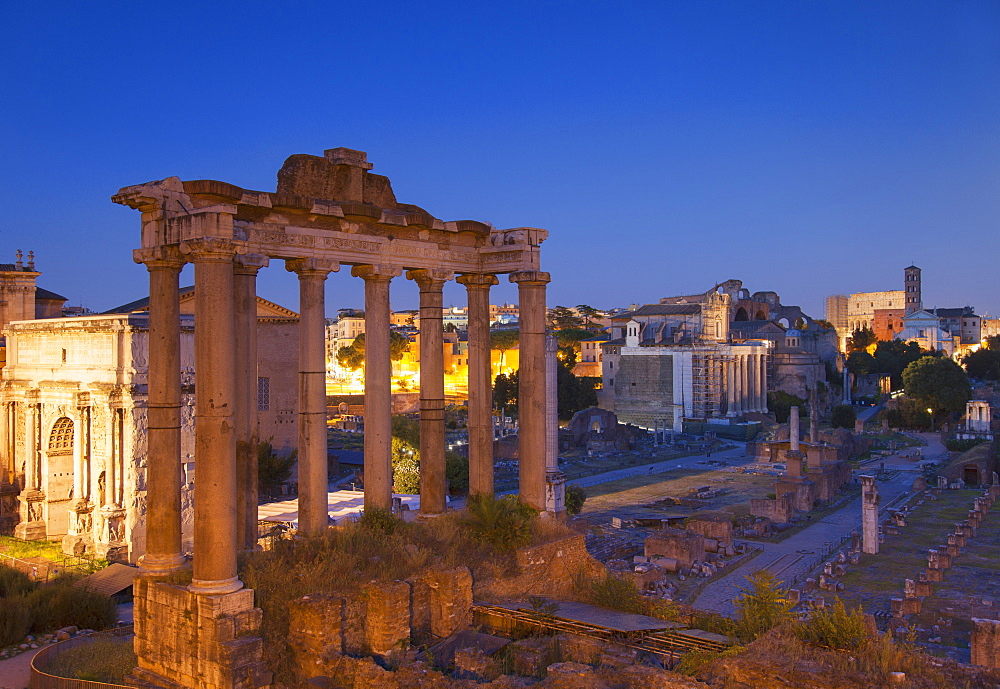 Roman Forum at dusk, UNESCO World Heritage Site, Rome, Lazio, Italy, Europe