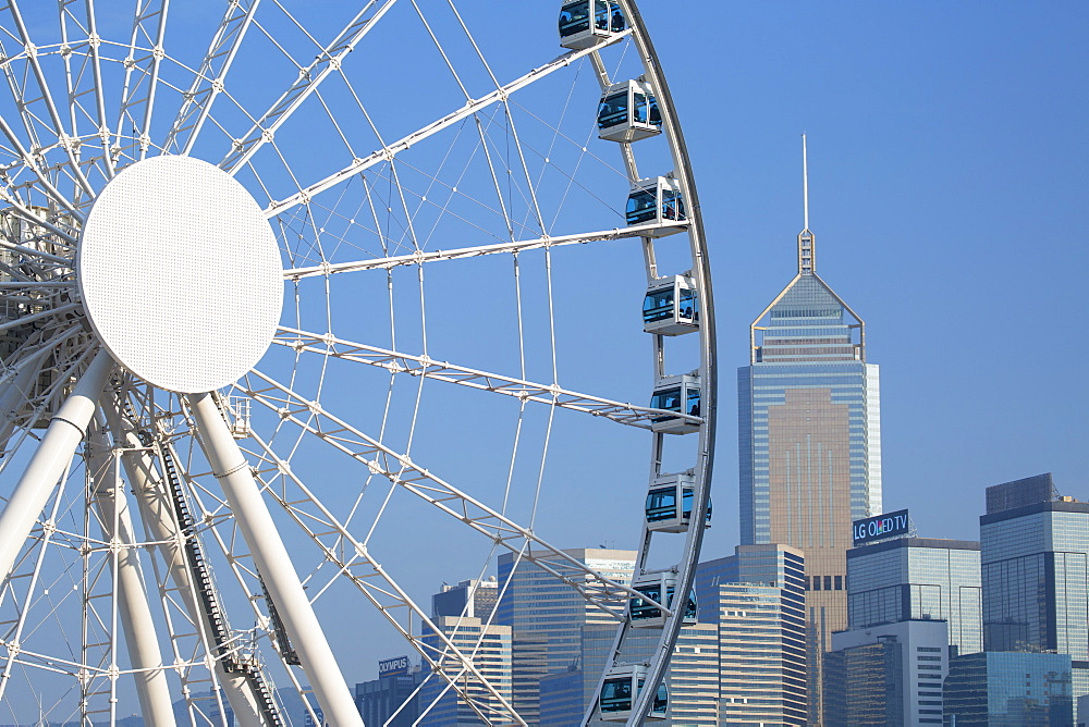 Ferris wheel and Wan Chai skyline, Hong Kong Island, Hong Kong, China, Asia