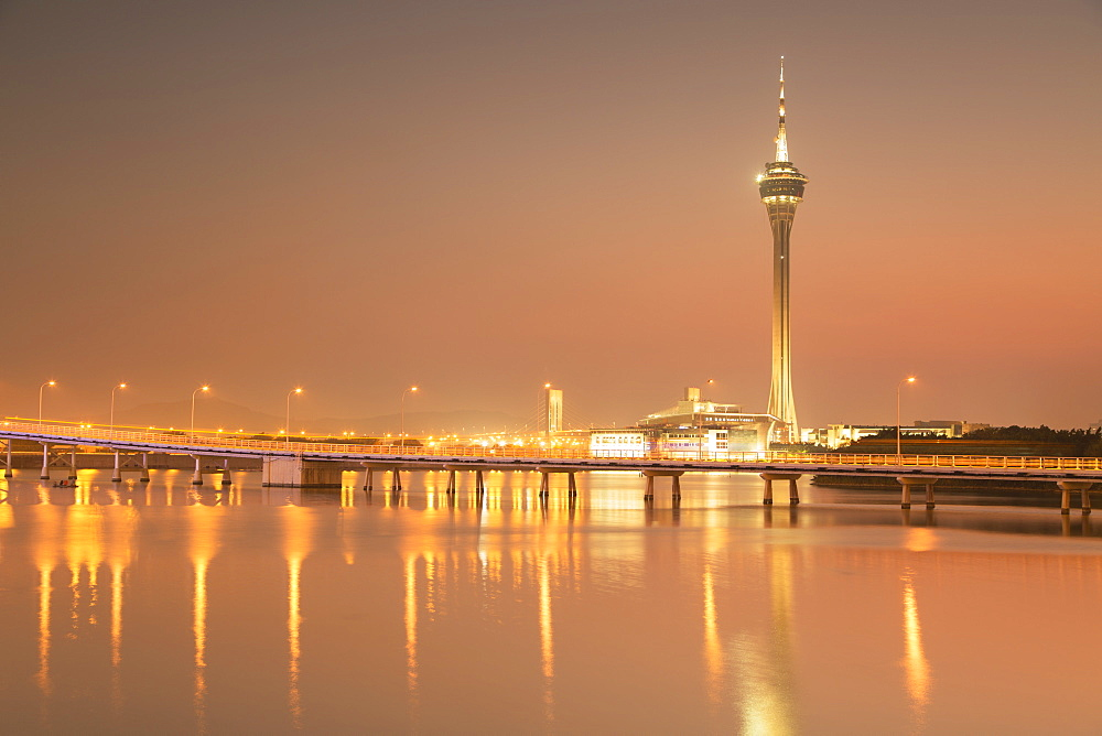 Macau Tower at sunset, Macau, China, Asia