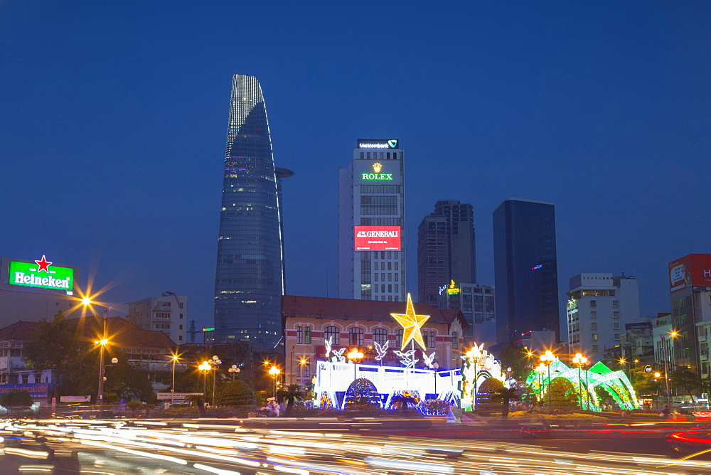 Bitexco Financial Tower at dusk, Ho Chi Minh City, Vietnam, Indochina, Southeast Asia, Asia