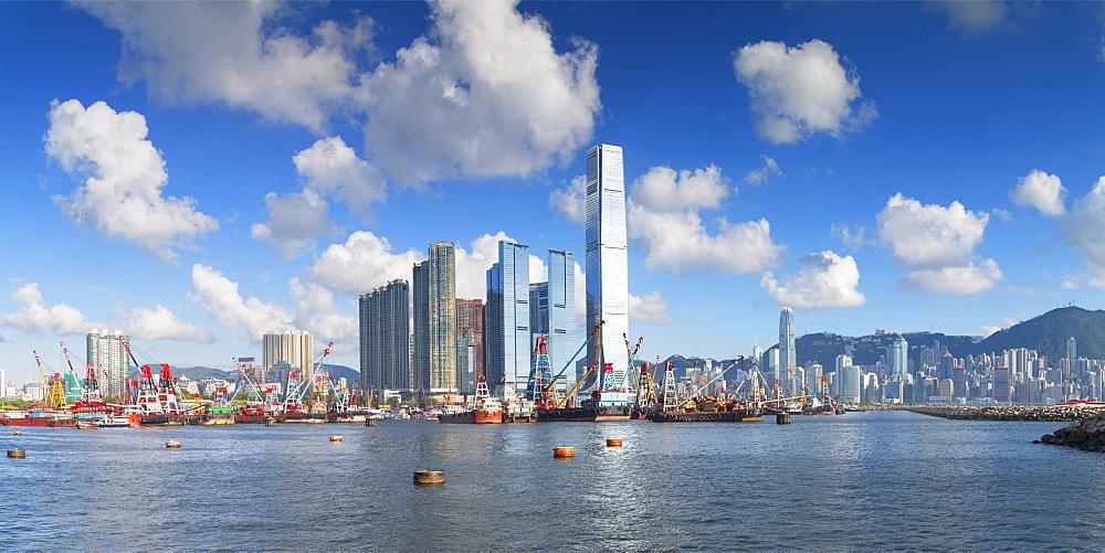 International Commerce Centre (ICC) and Hong Kong Island skyline, Hong Kong, China, Asia