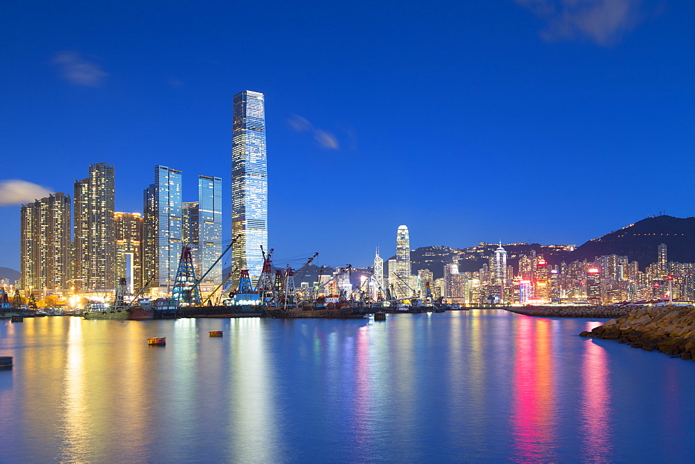 International Commerce Centre (ICC) and Yau Ma Tei Typhoon Shelter at dusk, West Kowloon, Hong Kong, China, Asia