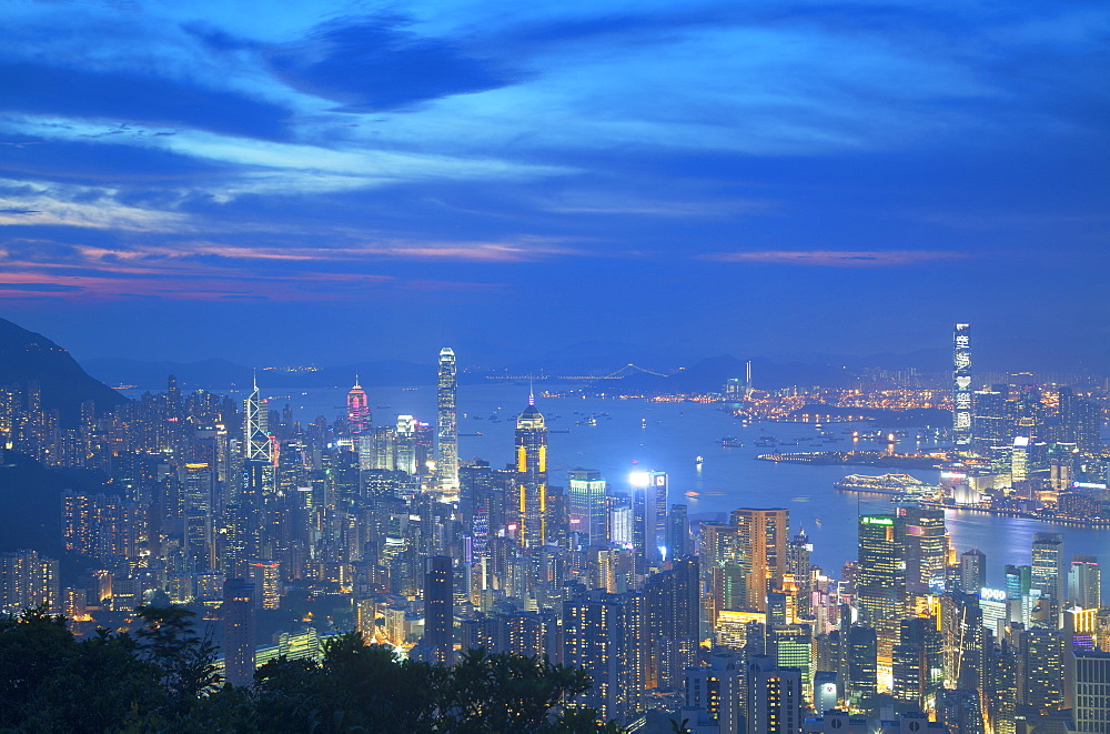 View of Hong Kong from Jardine's Lookout at sunset, Hong Kong, China, Asia