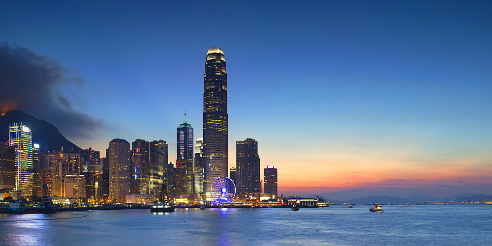 Hong Kong Island skyline at dusk, Hong Kong, China, Asia