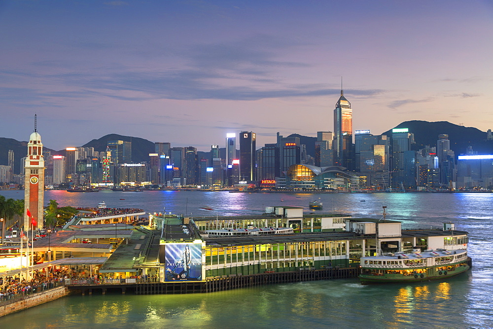 View of Star Ferry Terminal and Hong Kong Island skyline, Hong Kong, China, Asia
