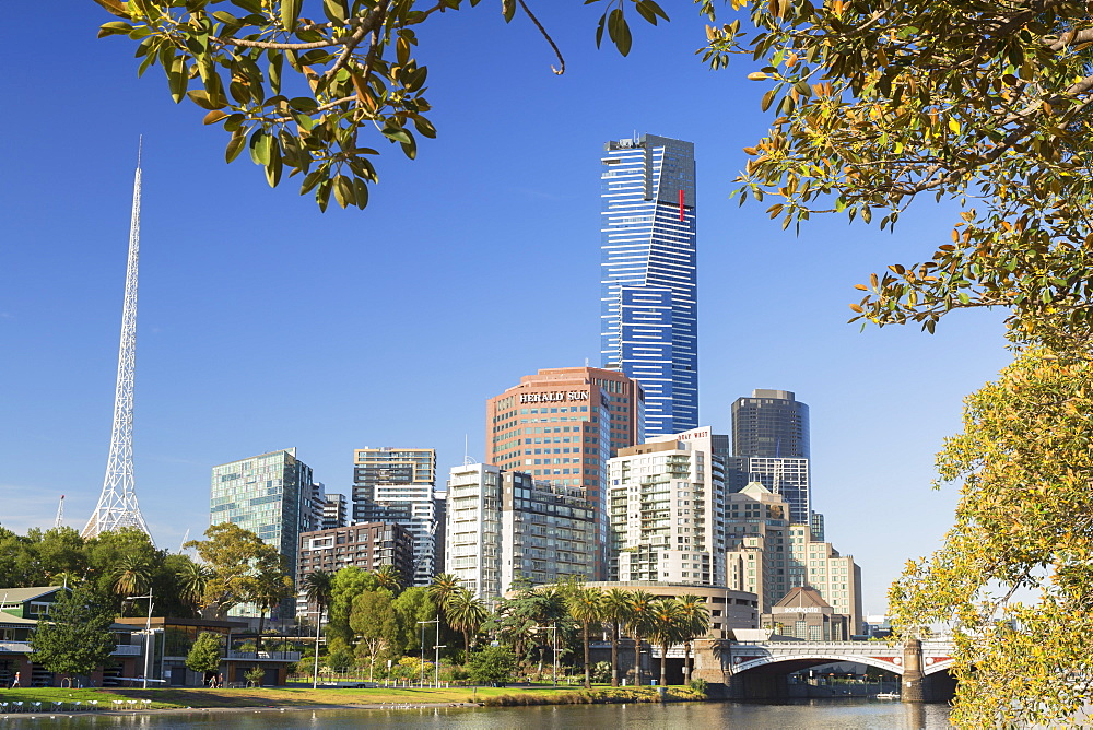 Eureka Tower and Victorian Arts Centre along Yarra River, Melbourne, Victoria, Australia, Pacific