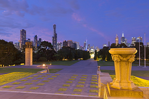 Skyline from Shrine of Remembrance at dusk, Melbourne, Victoria, Australia, Pacific