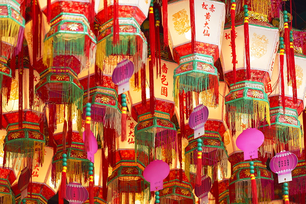 Lanterns at Wong Tai Sin Temple, Wong Tai Sin, Kowloon, Hong Kong, China, Asia