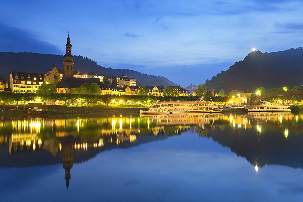 Cochem at dusk, Rhineland-Palatinate, Germany, Europe