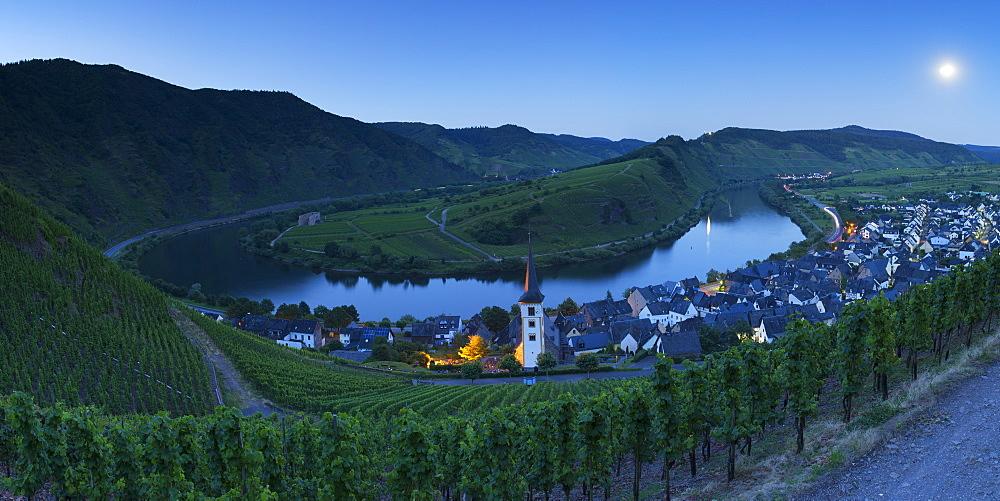 View of River Moselle at dusk, Bremm, Rhineland-Palatinate, Germany, Europe
