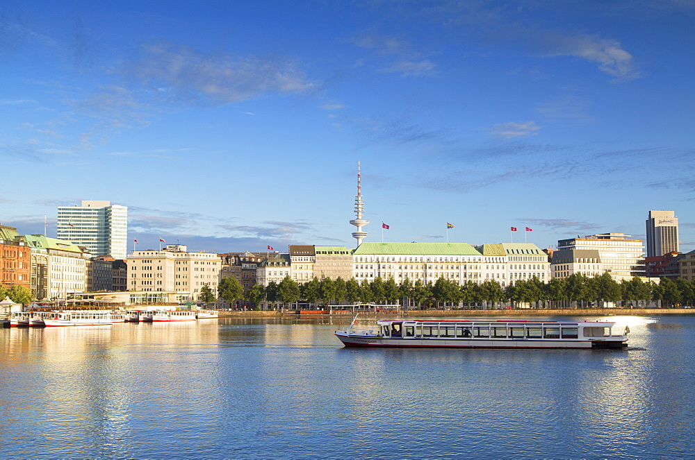 Television Tower and Binnenalster Lake, Hamburg, Germany, Europe