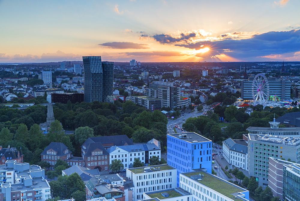 View of St. Pauli at sunset, Hamburg, Germany, Europe