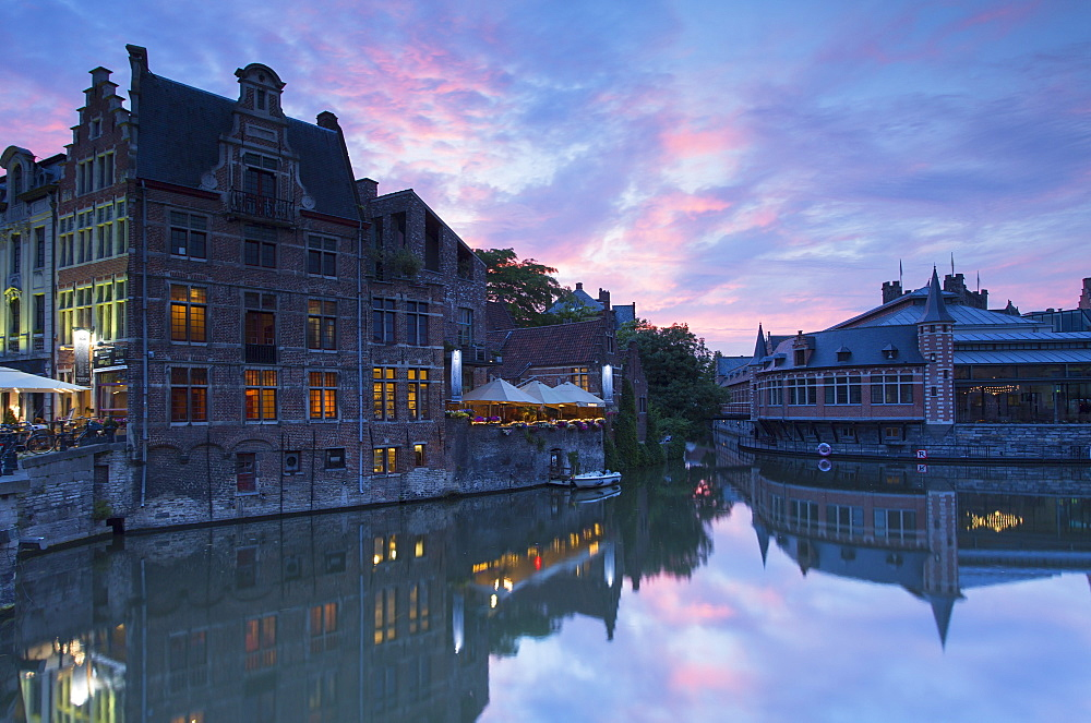 Canalside cafes on Leie Canal at sunset, Ghent, Flanders, Belgium, Europe