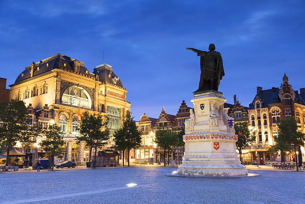 Friday Market Square (Vrijdag Markt) at dusk, Ghent, Flanders, Belgium, Europe