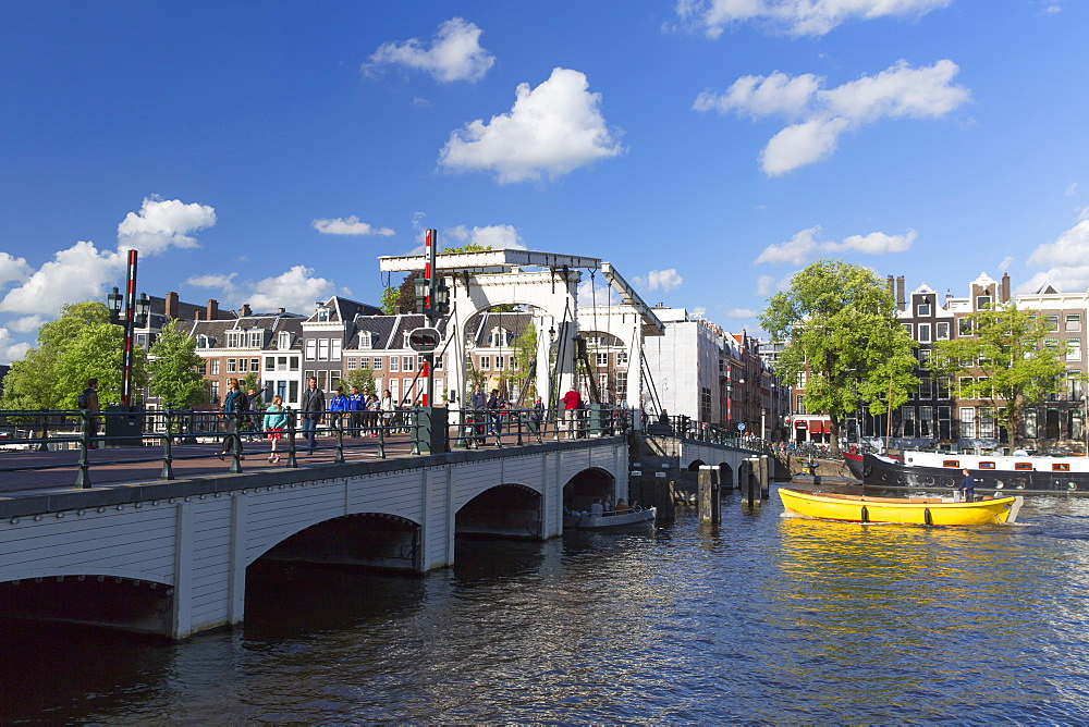 Skinny Bridge (Magere Brug) on Amstel River, Amsterdam, Netherlands, Europe