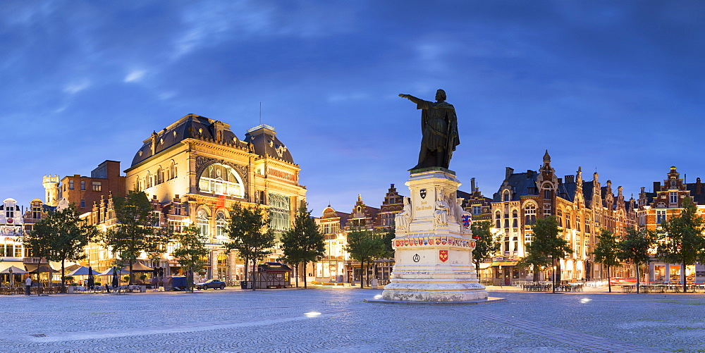 Friday Market Square at dusk, Ghent, Flanders, Belgium, Europe