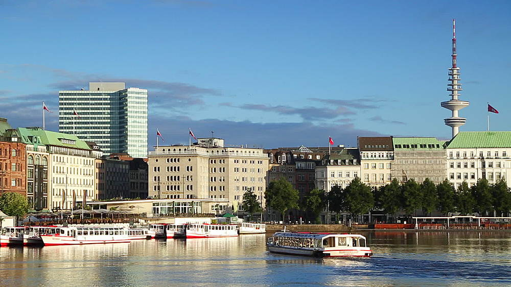 Cruise boat on Binnenalster Lake, Hamburg, Germany - 800-2906