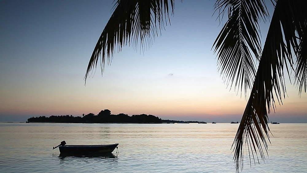 Beach at sunset, Rasdhoo Island, Northern Ari Atoll, Maldives