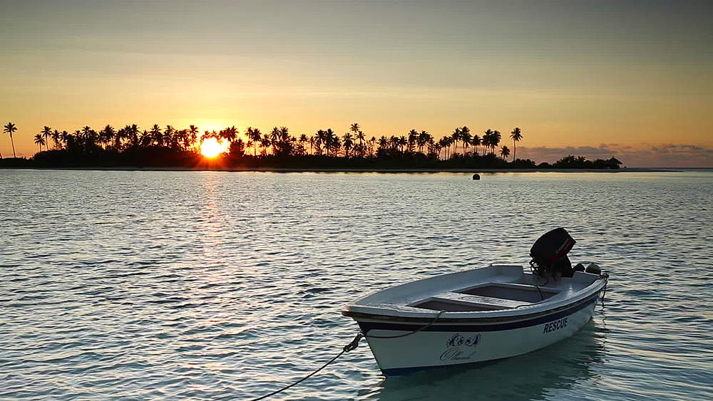 Boat at dawn, Olhuveli Beach and Spa Resort, Kaafu Atoll, Maldives - 800-2961