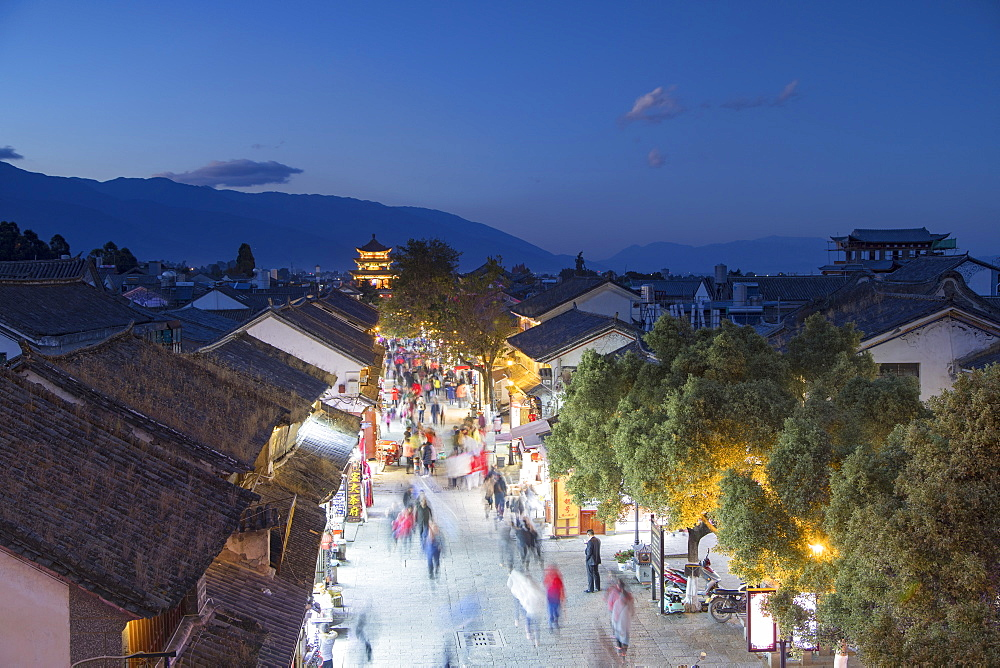 View of Dali at dusk, Yunnan, China, Asia - 800-2972