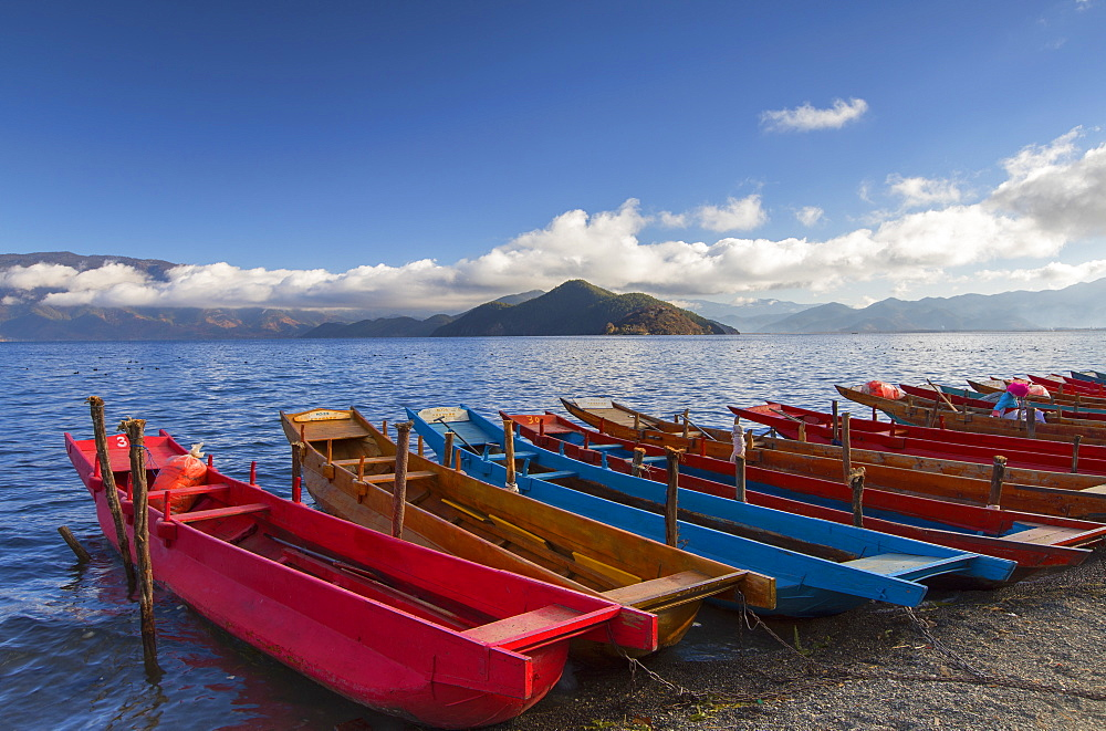 Boats at Luoshui, Lugu Lake, Yunnan, China, Asia - 800-2977